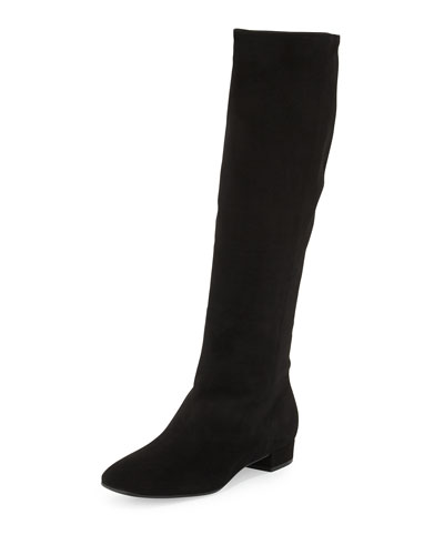 Stretch-Suede Tall Shaft Boot, Black (Nero)