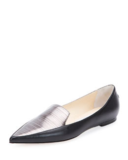 Smoking Two-Tone Slipper Flat, Black/Anthracite