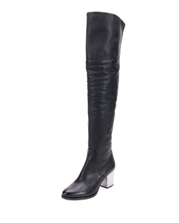 Mercer Leather Over-the-Knee Boot, Black