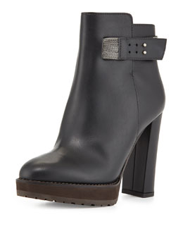 Calfskin Monili-Strap Ankle Boot, Black