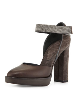 Suede & Leather Monili-Strap d'Orsay Pump