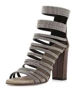 Leather Strappy Monili Sandal, Graphite