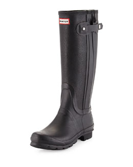 Leather & Rubber Slim Leg Rainboot, Black