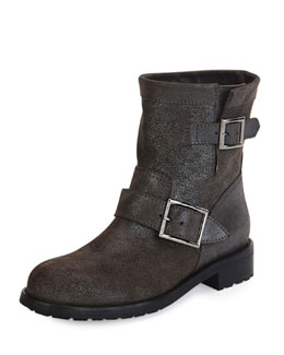 Youth Shimmer Suede Biker Boot, Gray