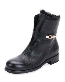 Duffel Fur-Lined Leather Ankle Boot, Black