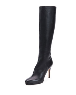 Glynn Grained Leather Knee Boot, Black