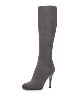 Glynn Printed Leather Knee Boot, Gray