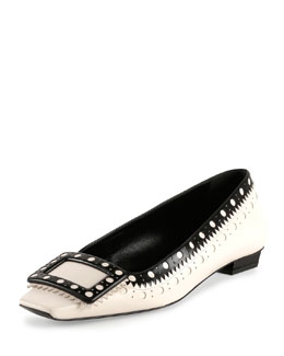 Belle Vivier Fibbi Low-Heel Pump, White/Black