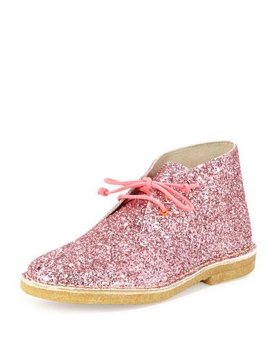 Delilah Glittered Desert Boot, Pink