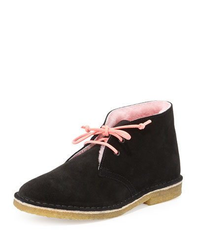 Delilah Fur-Lined Desert Boot, Black