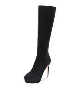 Mara Velvet Nubuck Knee Boot, Black