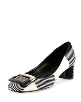 Ballerine U-Look Colorblock Wool Pump, Black/White