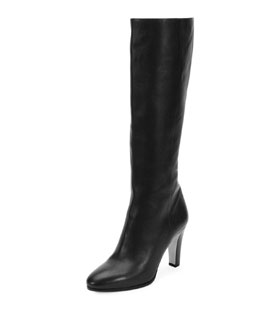 Martine Grained Leather Knee Boot, Black