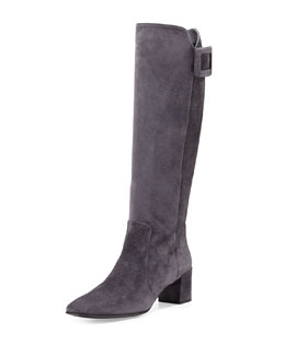 Polly Suede Buckle Knee Boot, Gray