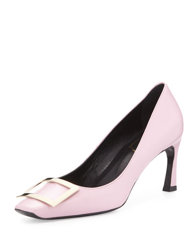 Belle Vivier Leather Buckle Pump, Kraft