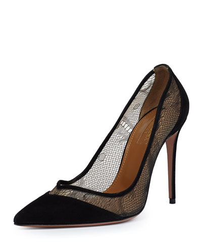 Cara Mia Lace/Suede Pump, Black
