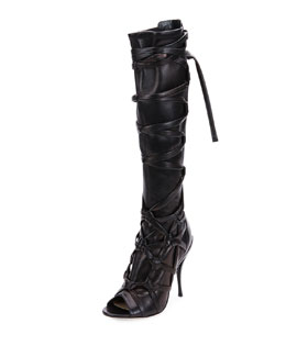 Anneli Wraparound-Strap Knee Boot, Black