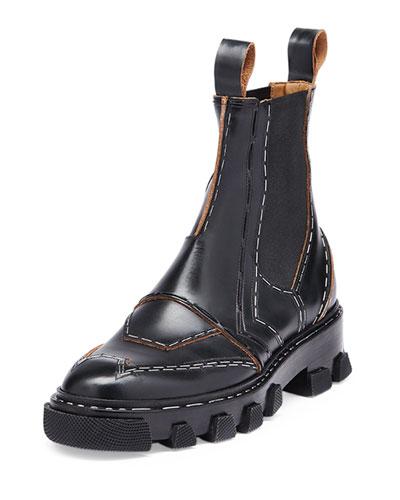 Stapled Leather Chelsea Boot, Black