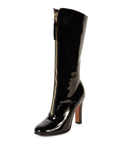 Rebelle Front-Zip Patent Boot, Black