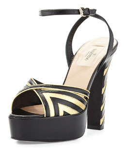 Shiny Fever Chevron Ankle-Wrap Sandal