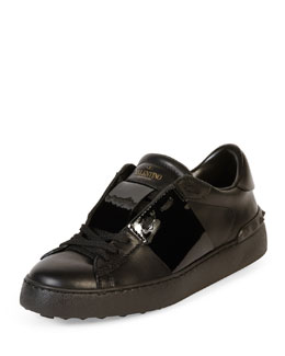 Striped Leather Open Sneaker, Black