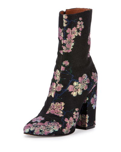 Floral Ankle Bootie, Black/Pink