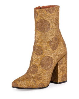 Brocade Ankle Bootie, Bronze