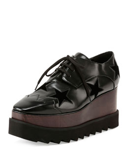 Elyse Stars Lace-Up Creeper, Black