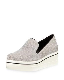 Shimmer Platform Slip-On Sneaker, Silver