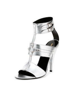 Fetish Metallic Leather Sandal, Platino