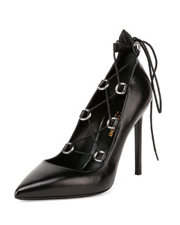 Paris Lace-Up Leather Pump, Black