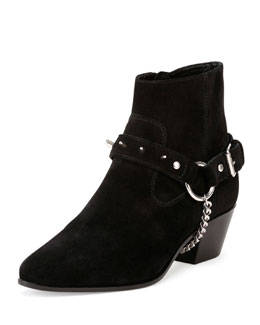 Wyatt Studded Suede Boot, Black