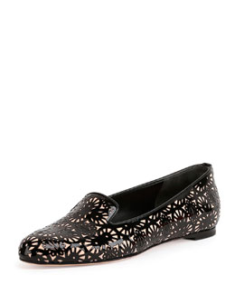 Laser-Cut Patent Leather Loafer, Black