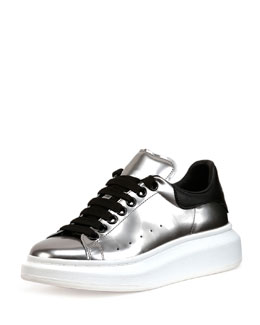 Metallic Lace-Up Low-Top Sneaker