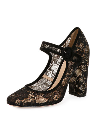 Sheer Lace Mary Jane Pump
