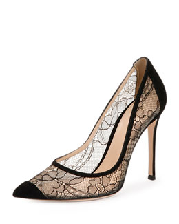 Pointed Cap-Toe Lace Pump