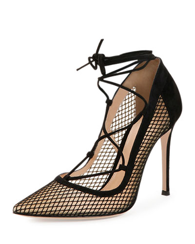 Mesh Lace-Up Point-Toe Pump
