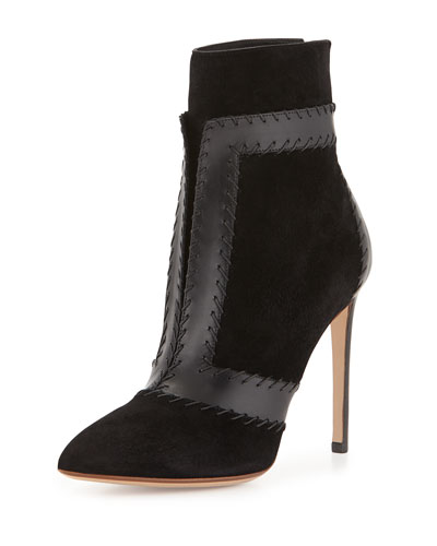 Layered Leather-Trimmed Suede Bootie
