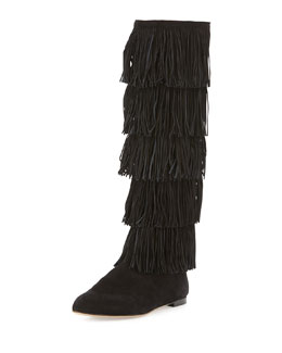 Irving Suede Tiered Fringe Knee Boot