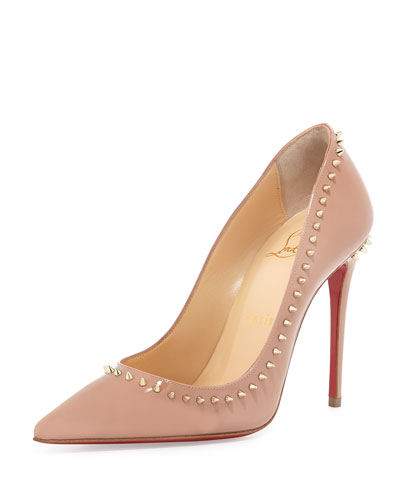 Anjalina Spike Patent Red Sole Pump, Nude/Golden
