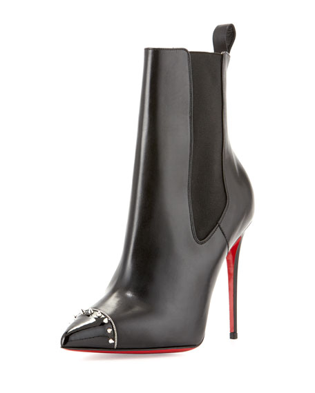 christian louboutin tennis shoes men - Christian Louboutin Banjo Spiked Cap-Toe Red Sole Bootie