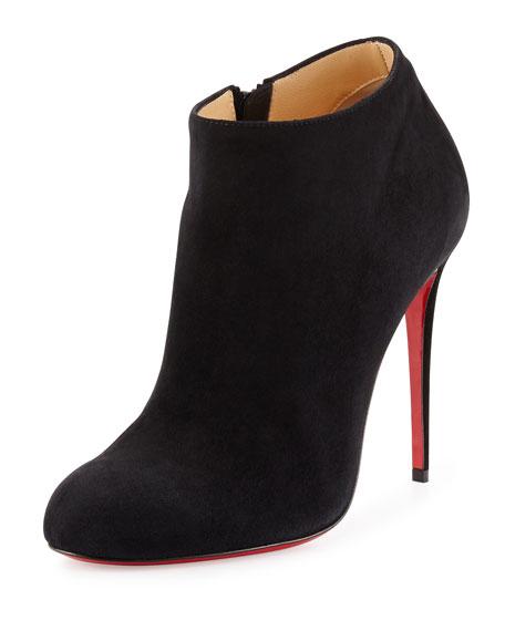 christian louboutin replica heels - Christian Louboutin Bellissima Suede Red Sole Bootie, Black