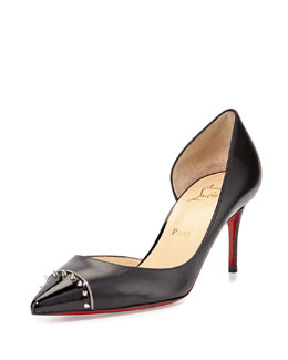 Culturella Spiked Half d'Orsay Red Sole Pump, Black