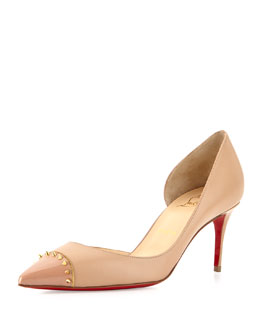 Culturella Spiked Half d'Orsay Red Sole Pump, Nude
