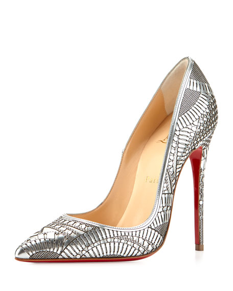 Kristali Laser-Cut Leather Red Sole Pump, Silver