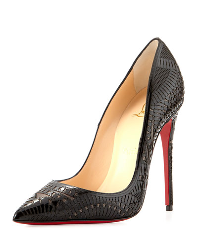 Kristali Laser-Cut Leather Red Sole Pump, Black