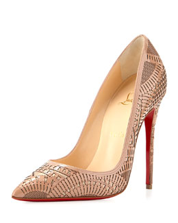 Kristali Laser-Cut Leather Red Sole Pump, Nude