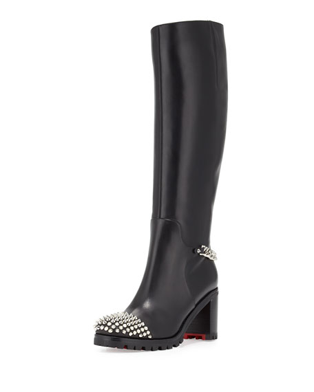 Napaleona Spiked-Toe Red Sole Knee Boot, Black
