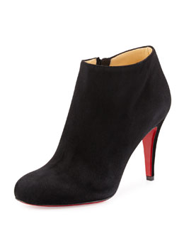 Belle Round-Toe Suede Red Sole Bootie