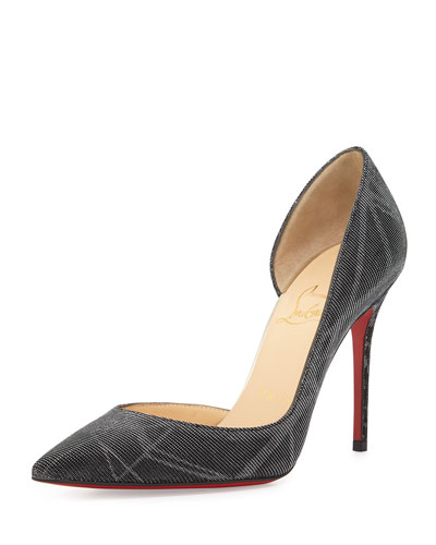 Iriza Half-d'Orsay Red Sole Pump, Back/Silver